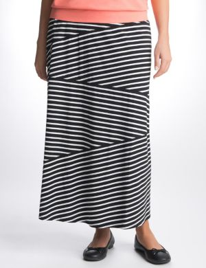 Striped knit maxi skirt