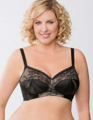 Satin & lace no-wire bra