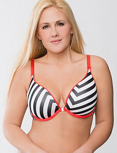 Solid & zig zag reversible plunge bra by Cacique