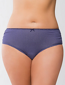 Ruched cotton hipster panty