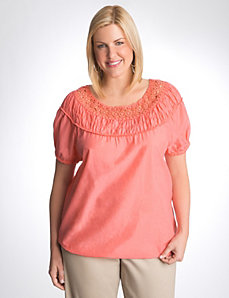 Plus size crochet bubble hem top