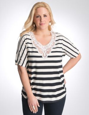 Crochet trim striped tee