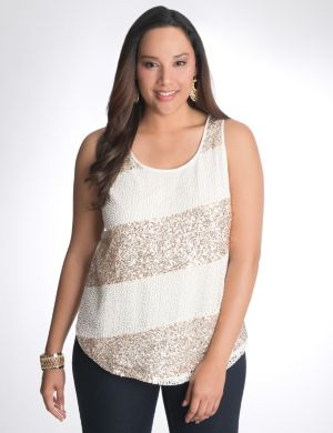 Sequin & crochet striped tank