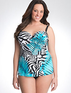 Zebra print swim tank with built in balconette bra