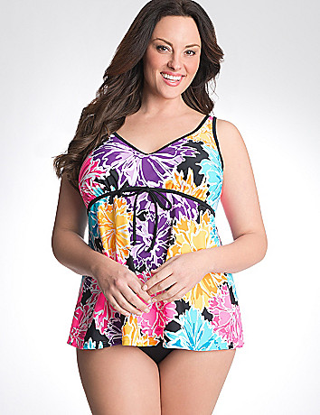 Happy blooms swim tank with built in no wire bra