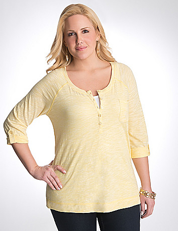 Plus size space dye Henley