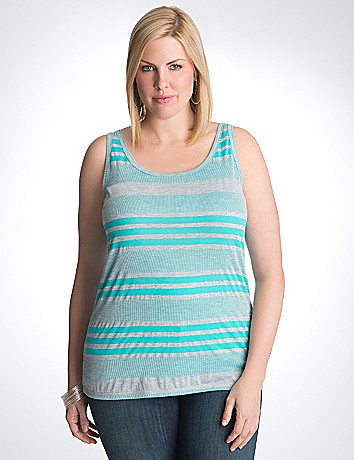 Plus size multi stripe ribbed tank