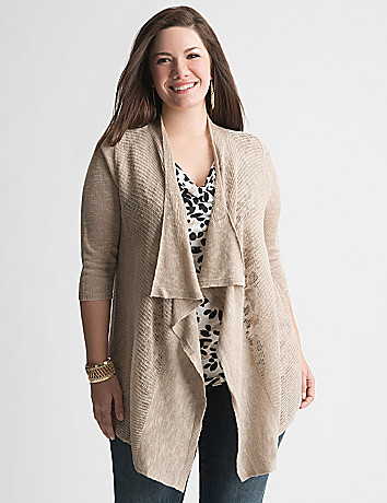 Mixed stitch draped cardigan