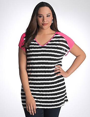 Sheer striped tee by Lane Bryant