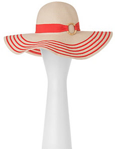 Striped straw hat with bamboo ring