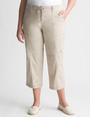 Knit waist cargo capri