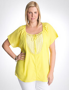 Full figure gauze crochet peasant top