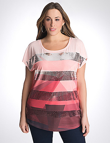 Plus size sequin stripe print tee