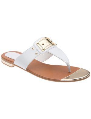 Patent cap toe sandal