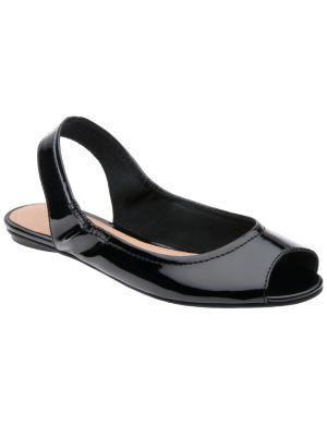 Patent peep toe flat