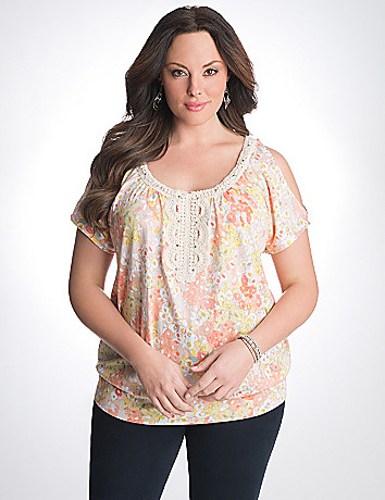 Plus Size Crochet Trim Top by Lane Bryant