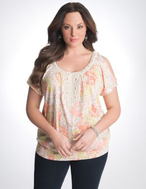 Floral cold shoulder top with crochet trim