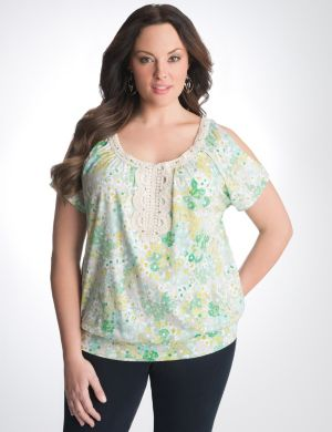 Floral cold shoulder top with crochet trim