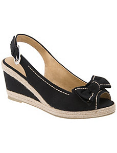Canvas slingback wedge