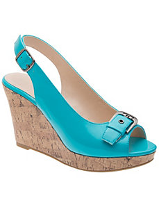 Peep toe cork wedge