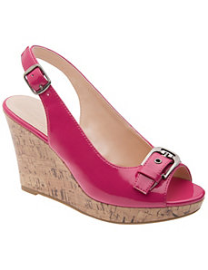 Peep toe cork wedge  by Lane Bryant