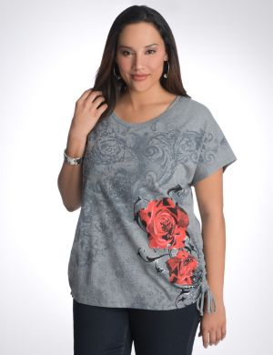 Rose shirred side tee