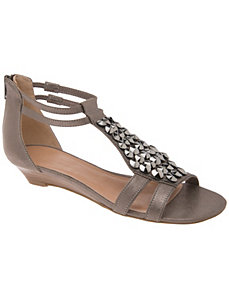 Embellished mini-wedge gladiator sandal by Lane Bryant