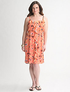 Ruffled Print Dress by Lane Bryant