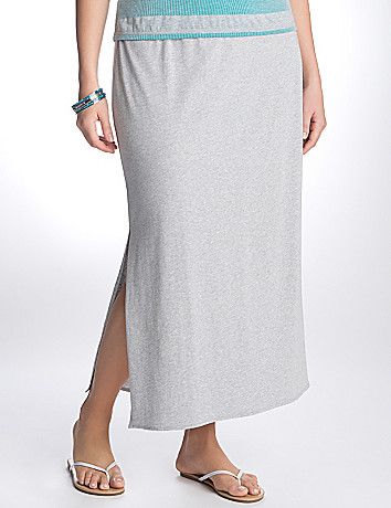 Full Figure Side Slit Maxi Skirt