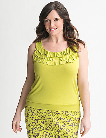 Full Figure Ruffled Neck Tank by Lane Bryant