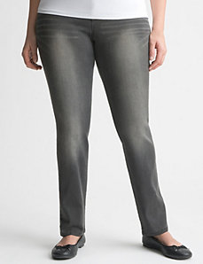 Ultimate Stretch gray sateen skinny jean by LANE BRYANT
