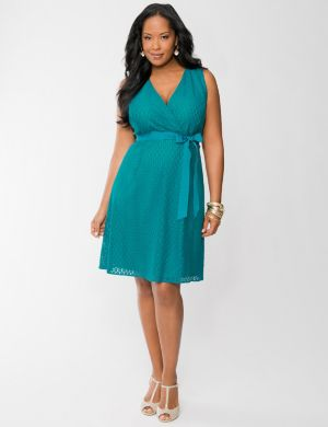 Lace surplice dress
