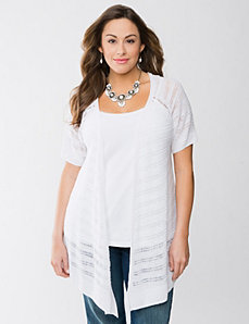 Drop stitch linen cardigan by Lane Bryant