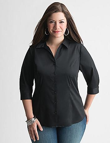Plus Size 3/4 Sleeve Button Down Shirt by Lane Bryant | Lane Bryant