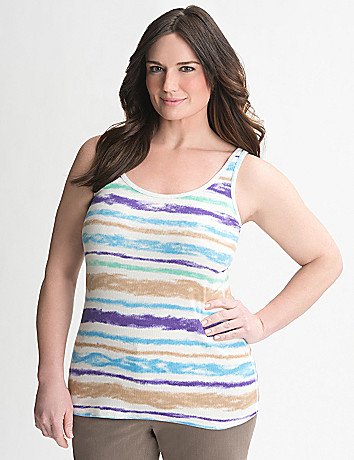 Watercolor Stripe Ribbed Tank by Lane Bryant