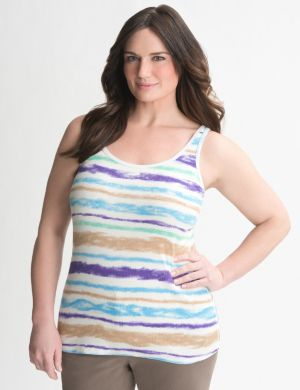 Watercolor stripe ribbed tank