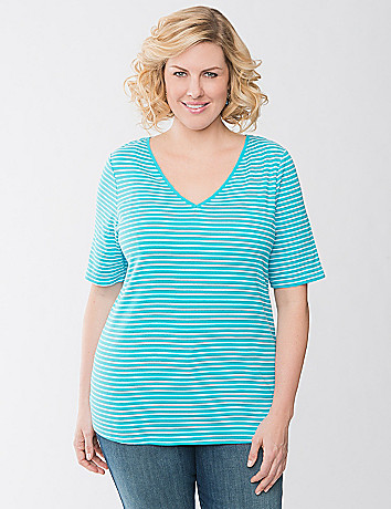 Plus Size Striped V-neck tee by Lane Bryant