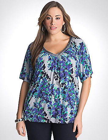 Sequin Floral Top by Lane Bryant