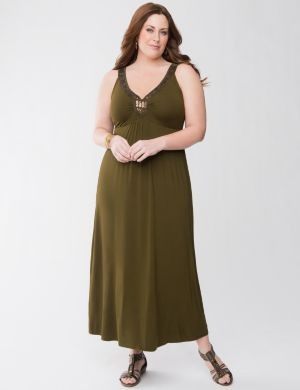 Embellished knit maxi dress