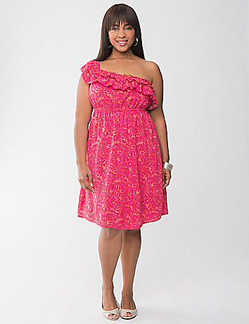One shoulder ruffled dress by Lane Bryant