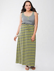 Striped knit maxi dress