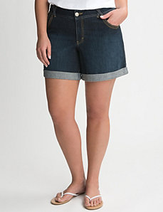 Cuffed denim short by LANE BRYANT