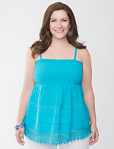 Smocked tank with crochet trim