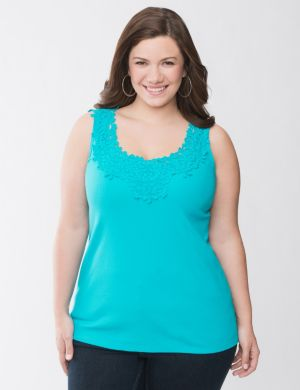 Battenberg lace trim tank