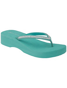 Wide Width Rhinestone Wedge Sandal by Lane Bryant