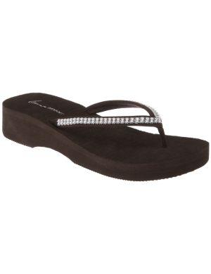 Rhinestone wedge flip flop