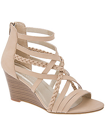 Wide Width Braided Wedge Sandal by Lane Bryant