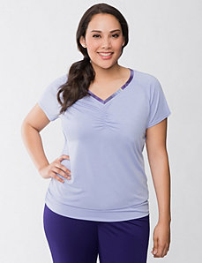 Ruched V-neck tee by Reebok