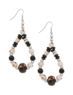 Wooden bead teardrop earrings by Lane Bryant