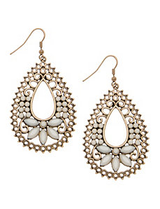 Beaded filigree teardrop earrings by Lane Bryant